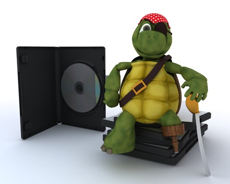 3D render of a Pirate Tortoise with DVD CD and Software Stock Photo - 13306278