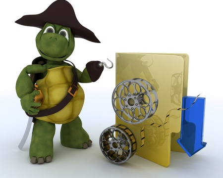 3D render of a Pirate Tortoise depicting illegal movie downloads Stock Photo - 13306283