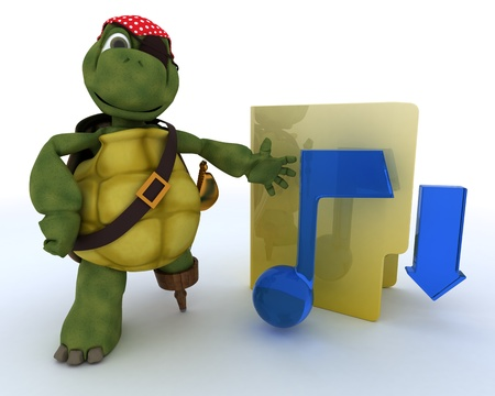 3D render of a Pirate Tortoise depicting illegal music downloads Stock Photo - 13306279