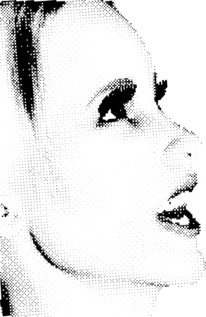abstract eye: Smiling female face made up of halftone dots - made from a 3D model