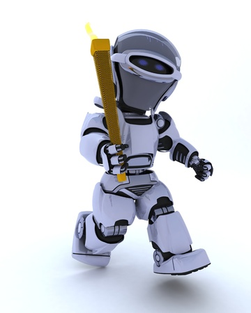 3D render of a robot running with olympic torch photo