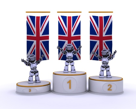 3D render of robots on a championship podium photo