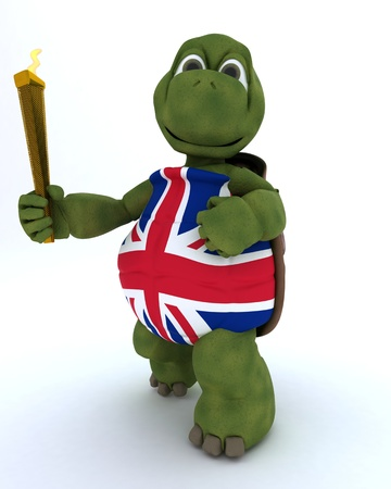 3D render of a tortoise running with othe olympic torch photo