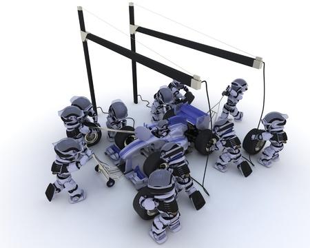 3D Render of a Race car pit stop 版權商用圖片