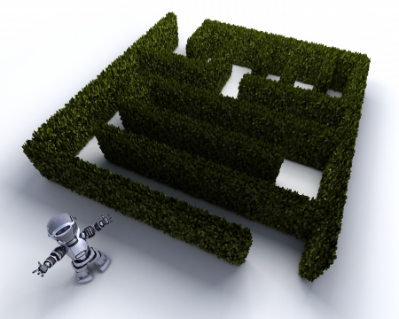 3D render of a Robot at the start of a maze photo