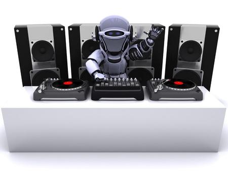 3D render of a Robot  DJ mixing records on turntables Standard-Bild