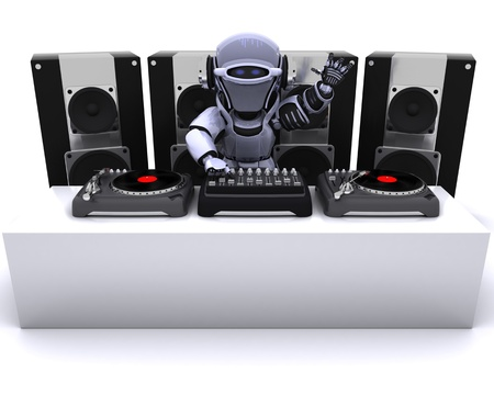 render: 3D render of a Robot  DJ mixing records on turntables Stock Photo