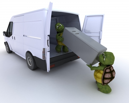 3D render of a tortoises loading a refridgerator into a van photo