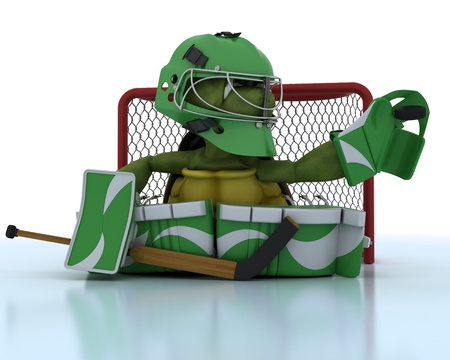 3D render of a tortoise playing ice hockey photo