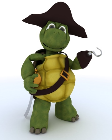 3D render of a Tortoise dressed as a pirate photo