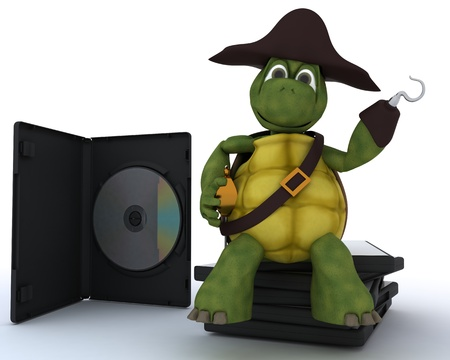 3D render of a Pirate Tortoise with DVD CD and Software Stock Photo - 13625823