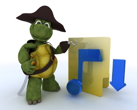 3D render of a Pirate Tortoise depicting illegal music downloads Stock Photo - 13625776