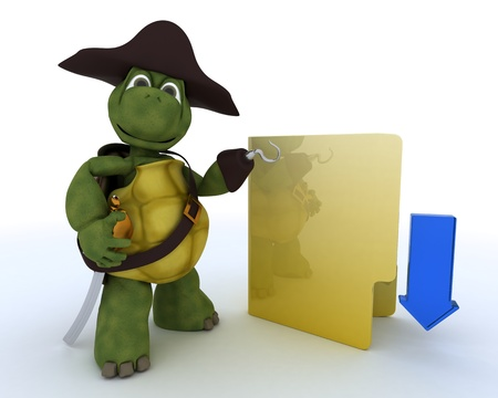 3D render of a Pirate Tortoise depicting illegal downloads Stock Photo - 13625771