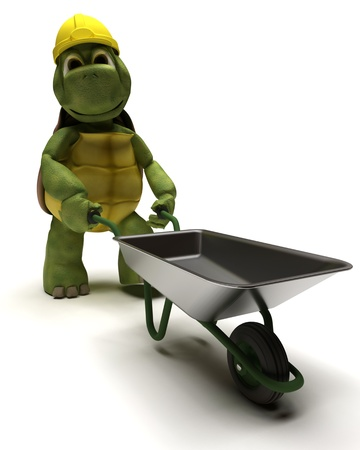 barrow: 3D render of a tortoise Builder with a wheel barrow Stock Photo