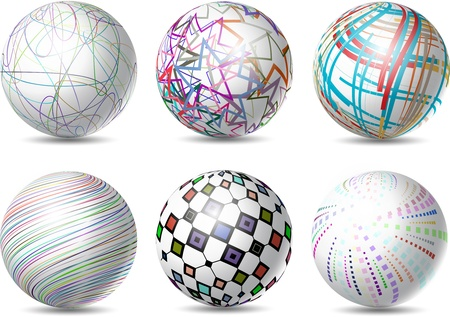 Collection of six spheres with various abstract designs Stock Photo - 13728994