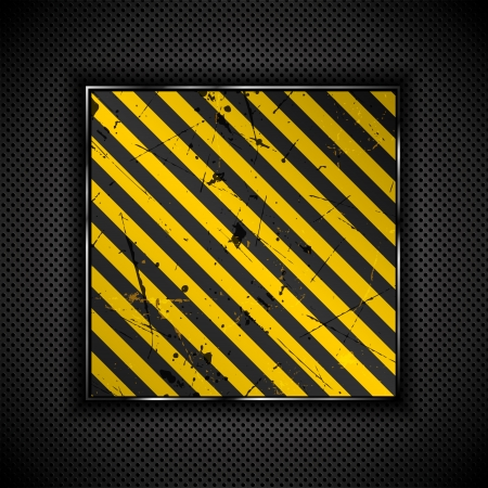 Grunge yellow and black stripes on a perforated metal background Stock Photo - 13729005
