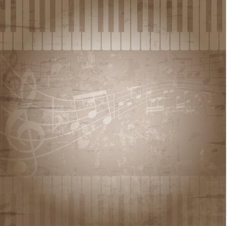 musik hintergrund: Grunge-Stil Hintergrund mit Musik Noten und Klaviertasten Lizenzfreie Bilder