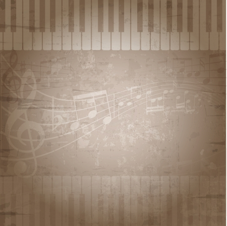 Grunge style background with music notes and piano keys photo