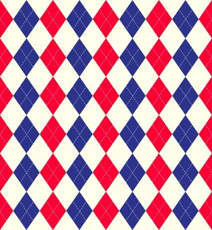 Seamless tiled background of an argyle style pattern using Union Jack flag colours photo