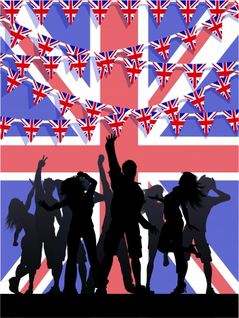 Silhouette of party people on a Union Jack flag background with bunting photo