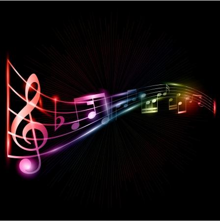 pentagrama musical: Resumen de música toma nota de fondo con un efecto de neón