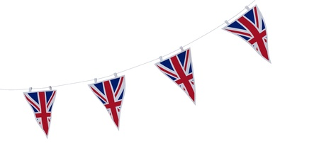 bunting: 3D render of Union Jack Bunting and Banners Stock Photo