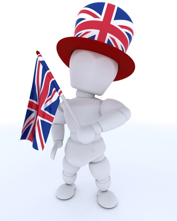 3D render of Man in Union Jack Hat with Flag photo