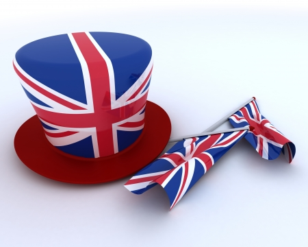 3D render of Union Jack Jubilee Hat and  Flag photo