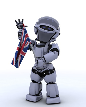3D render of Robot with Union Jack Flag photo