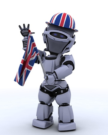 3D render of Robot in Union Jack Hat with Flag photo