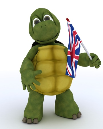 3D render of Tortoise with Union Jack Flag photo
