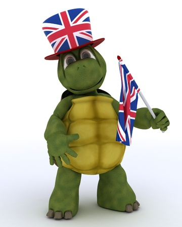 3D render of Tortoise in Union Jack Hat with Flag photo