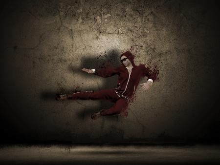 baile hip hop: Grunge bailar bailarín en una sala de edad - hombre creado a partir del modelo 3D