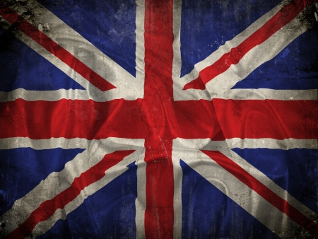 queens jubilee: Grunge Union Jack flag background with splats, stains and creases