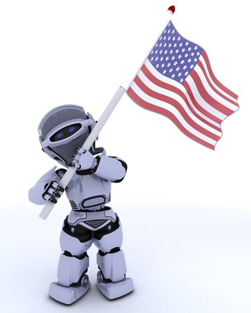 independance: 3D render of a robot with american flag