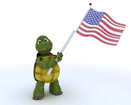 3D render of a tortoise with american flag photo