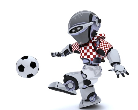 3D render of a Robot playing soccer Stock Photo - 14047756