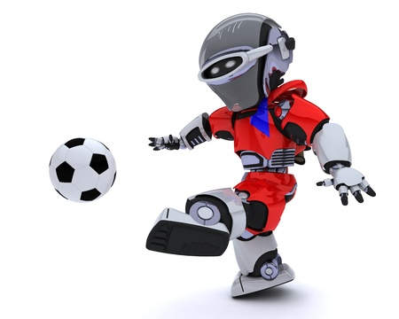 3D render of a Robot playing soccer Stock Photo - 14047755