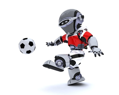 3D render of a Robot playing soccer Stock Photo - 14047744