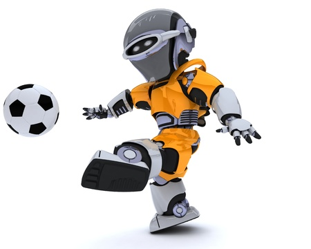 3D render of a Robot playing soccer Stock Photo - 14047754