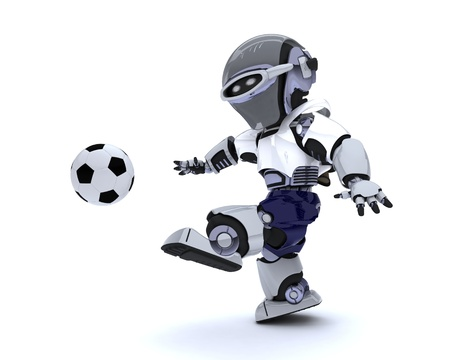 3D render of a Robot playing soccer Stock Photo - 14041745