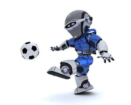 3D render of a Robot playing soccer Stock Photo - 14047748