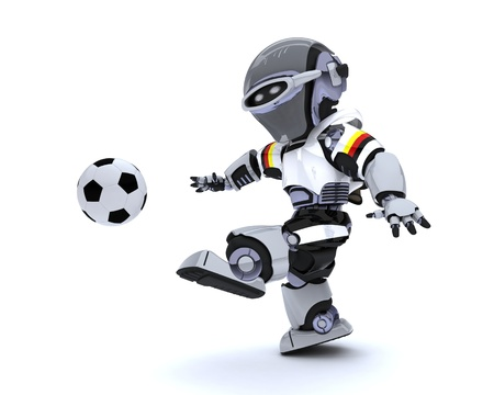 3D render of a Robot playing soccer photo