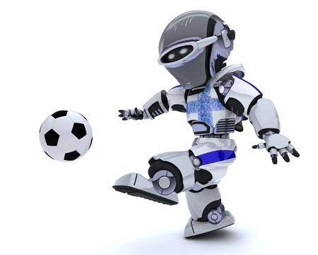 chrome man: 3D render of a Robot playing soccer