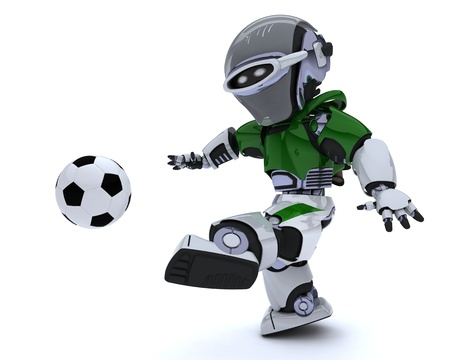 3D render of a Robot playing soccer Stock Photo - 14047749