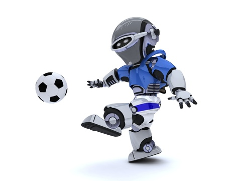 3D render of a Robot playing soccer Stock Photo - 14041746