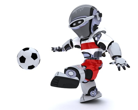3D render of a Robot playing soccer Stock Photo - 14047751