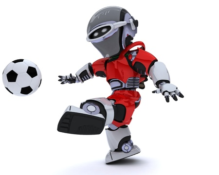 3D render of a Robot playing soccer Stock Photo - 14047750