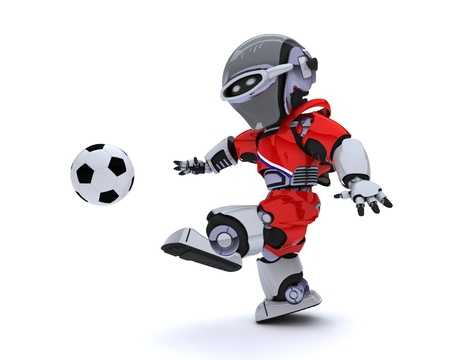 3D render of a Robot playing soccer Stock Photo - 14047746