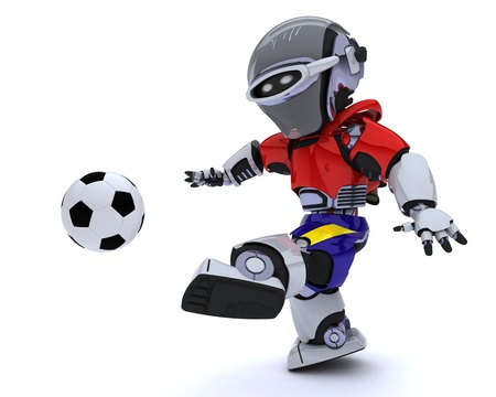 3D render of a Robot playing soccer Stock Photo - 14047753